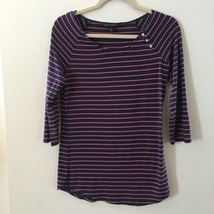 Banana Republic navy and pink stripe boat neck tee